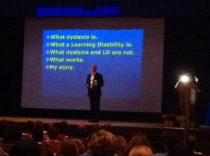 "Emerson Dickman, a past president of IDA, presenting his keynote ""What is Dyslexia?"""